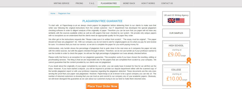 Papercheap.co.uk. Plagiarism Free